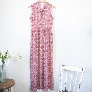 Band of Gypsies Pink Floral Sheer Dress, medium